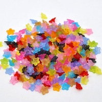 Free Shipping 800 Random Mixed Lily Flower Frosted Acrylic Beads 10x4mm(W01965 X 1)