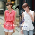 New Korean fashion ladies blouse Chiffon sleeveless Shirt Top free shipping 5686