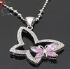 Wholesale fashion pink butterfly full rhinestone pendant necklace 24pcs/Lot short silver chain insect charm necklace jewelry