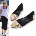 Fashion women's shoes butterfly black colorant match serpentine pattern shallow mouth pointed toe flats