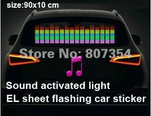 free shipping, 90cm*10cm light flashing EL car sticker,light music activated equalizer Windshield car sticker for window(China (Mainland))