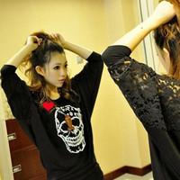 Женская футболка women hoodies sweatshirts Halloween skull 2012 cotton slim skull letter print long-sleeve T-shirt basic shirt f29 orange