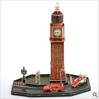 CARS 2 London station BIG BEN + car 3D jigsaw puzzle model for children  Baby educational  toys + free shipping