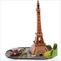 CARS 2 Paris station Eiffel Tower + car 3D jigsaw puzzle model for children  Baby educational  toys + free shipping