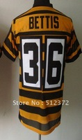 Free Shipping!!! 2012 new style jersey #36 Jerome Bettis throwback 80th anniversary yellow black jersey