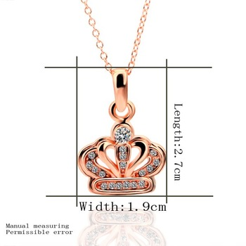 free shipping N380 Sale girls fashion austria crystal crown pendant  necklace ROSE gold plated fashion necklace for women