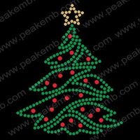 Free Shipping Wholesale 30pcs/Lot Bling Christmas Tree Motif Rhinestone Transfer Design Bling Decoration for Christmas Garment