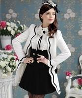 2012 spring new white petals inlaid black border Slim spring long sleeve women's jacket