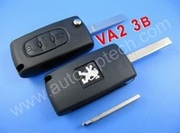 High quality and good service peugeot 307 flip remote key 3 button 433MHZ ( VA2 blade without groove),Wholesale and retail