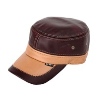 Free shipping genuine Leather hat baseball navy cap for Teenager