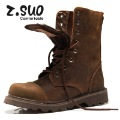 Men outdoor waterproof Brown Crazy Horse cow leather lace-up western cowboy desert army combat Military Martin boots,Black,39-44
