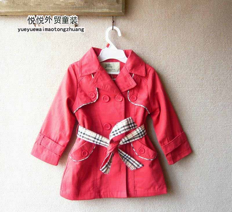 Child female child trench outerwear girls double breasted trench fashion brand outerwear(China (Mainland))
