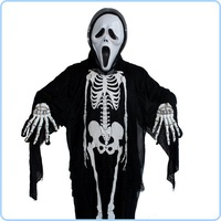 Promotion hot sale halloween witch costume for children adult / skull hard skeleton carnival clothing with scream face mask