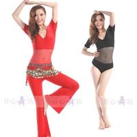 Belly dance one piece set clothes gauze bodysuit indian dance leotard yoga clothing