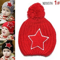 Free shipping Fashion100% cotton baby Five-pointed star Knitted cap infant hats Christmas gift Children's hats Child caps(China (Mainland))