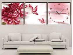 Wall clock picture frame decorative painting the static sound canvas wall clock z011(China (Mainland))
