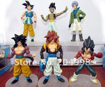 "Free shipping Anime Dragon Ball GT  5"" GOKU Vegeta Trunks UUB  Figure Model toy  ( 6 pcs/set )"