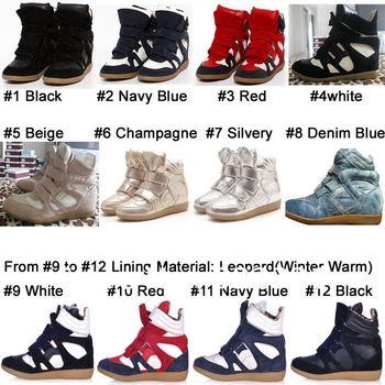 Beyonce Design Annakestle Korea Women's Ladys Isabel Marant High Tops Velcro Ankle Wedge Hidden Heels Sneakers Boots Shoes