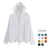 Casual sweep drawstring with a hood bright color sunscreen cardigan sweater female 14 women's ,Free shipping