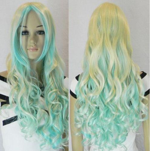 2011 New Cosplay long light golden & light blue mix Hair wig(China (Mainland))