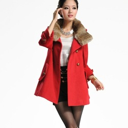 2012 Autumn and winter New Wool Coat Women Real fur collar 8793, 3 Colors, Free Shipping(China (Mainland))