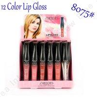 New Arrival 24PCS/Lot  Free Shipping HKP 12 Colors Lip Gloss Makeup Lipgloss 8075# 6.5ML Capacity