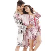 Free shipping Autumn lovers sleepwear long-sleeve silk sleep set women's spaghetti strap nightgown robe twinset