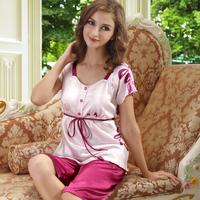 Free shipping Elegant summer women's short-sleeve sleep set sleepwear female silk sleepwear lounge pants