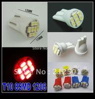 Freeshipping wholesale 500pcs/lot  12V T10 8smd 1206 Car  light 194 168 192 W5W LED Light Dashboard Reading License Plate Lamp