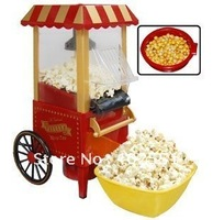 free shipping by CPAM diy mini carriage shape nostalgic hot air popcorn machine poper pop corn maker with EU plug red 1.8kg