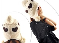 2012 Good Christmas Gift Women Hat Love Heart Pattern Laday Caps Winter Hats For Woman Ear Muff Fashion Lady's Headwear 5 Colors