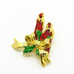 2013 Christmas Festival Gift Fashion Brooch Pins 52*38mm Zincy Alloy Gold Plated Broaches Wholesalers Free Shipping HB035(China (Mainland))