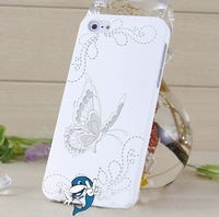 Free DHL Shipping 30x Personalized Engraved Case for iPhone 5,Floral Butterfly Hard case for iPhone 5G