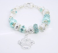 Free shipping ! Jewelry Tibet Silver skyblue stunning lampwork beads link  Crystal Crown charms style charms Bracelet QBQ21