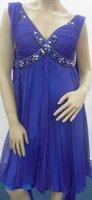 V- Neck Blue Silk Chiffon Bridesmaid Dress Jeweled  Evening Gown Rhinestone Short Prom Dress Sz 2 4 6 8 10 12 14 16+Custom