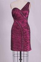 Sheath One Shoulder Wine Burgundy Taffeta Bridesmaid Dress Glamorous Evening Gown Short Prom Dress Sz 2 4 6 8 10 12 14+Custom