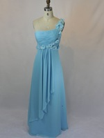 One Shoulder Blue Chiffon Bridesmaid Dress lower  Evening Gown Rhinestone Long Party Prom Dress Sz 2 4 6 8 10 12 14 16+Custom