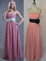 Strapless Pleated  Pink Chiffon Evenning Dress A-line Prom Dress Gown Bridesmaid Dress Lavender Party Gown Sz 2 4 6 8 10+Custom
