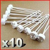 10X LED Lamp Socket holder Base Halogen with Wire Miniature Bi-pin Base, G4, G6.35, Gy6.35, Gx5.3 Mr16, Gz4 Mr11 Base Socket