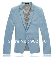 free shipping 2012  New Men's fashion leisure evening dress suit jackets one button slim fit cotton blazers ,black,blue  46-54