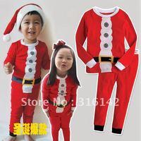 6sets/lot Children Christmas Cotton Long Sleeve Pyjamas Set Baby Santa Sleepwear Free Shipping