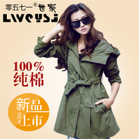2012 spring and autumn outerwear women's plus size casual Army Green medium-long fashion female trench