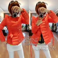 women's double breasted short design padded   down  short winter jacket women with a belt