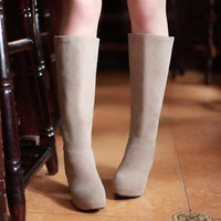 2013 brief casual zipper thick high-heeled high-leg boots single boots female beige
