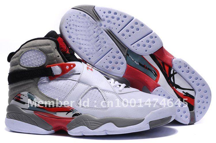 Air Jordan Retro 8 White Black True Red 305381-103 Men Basketball Shoes 2012 mix order