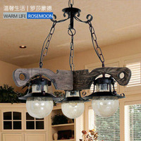 Fashion rustic brief tieyi wood pendant light cd9318