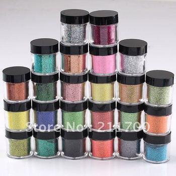 Free Shipping 24 colors Mixed Jumbo Size Metal Shiny Acrylic Nail Powder Glitter Dust Kit DIY