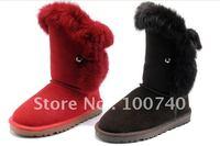 genuine leather Rabbit fur waterproof medium-leg women's shoes snow boots 5832 ( A.SUE ) BT0002