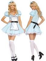 Sky BlueTemptation Sexy women naughty lace Maid Costume lolita Fancy Dress Halloween cosplay partywear Free Shipping