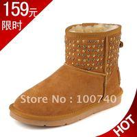 Ankle boots genuine leather rivet snow boots women's shoes flat nubuck cowhide 5854 - 1
